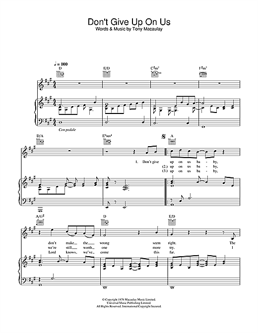 Don't Give Up On Us (from Starsky And Hutch) Sheet Music