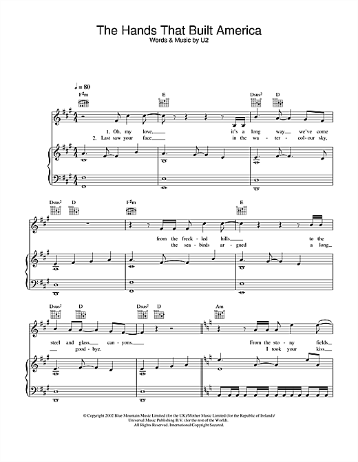 The Hands That Built America (from Gangs Of New York) Sheet Music