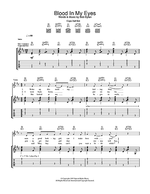 Tablature guitare Blood In My Eyes de Bob Dylan - Tablature Guitare