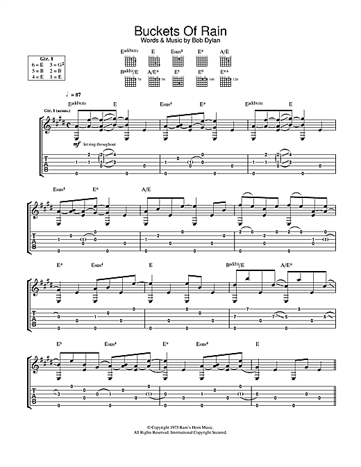 Tablature guitare Buckets Of Rain de Bob Dylan - Tablature Guitare