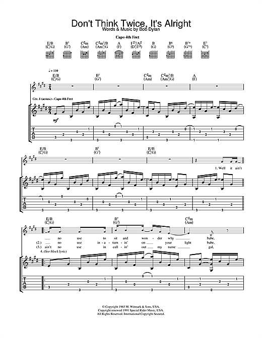Tablature guitare Don't Think Twice, It's Alright de Bob Dylan - Tablature Guitare