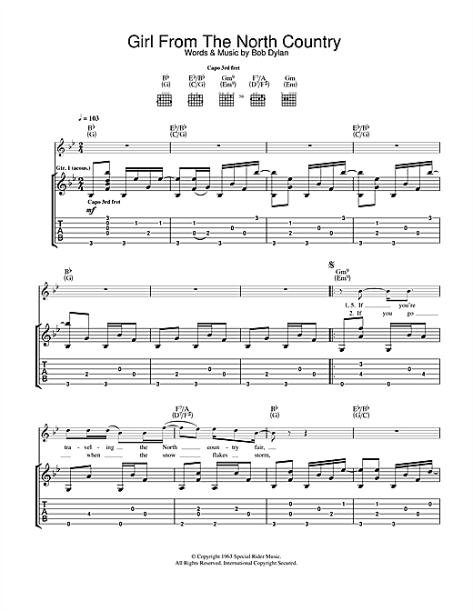 Girl From The North Country (Guitar Tab)