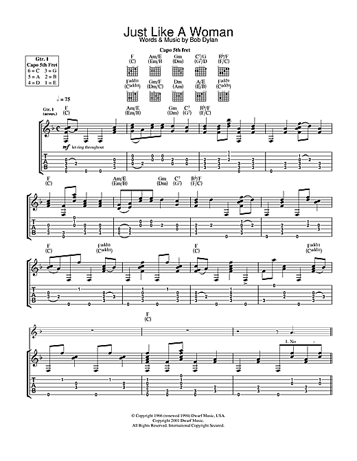 Tablature guitare Just Like A Woman de Bob Dylan - Tablature Guitare