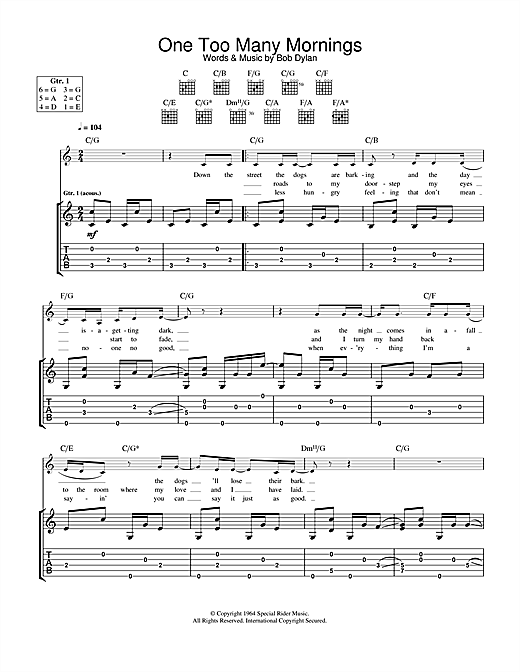 Tablature guitare One Too Many Mornings de Bob Dylan - Tablature Guitare