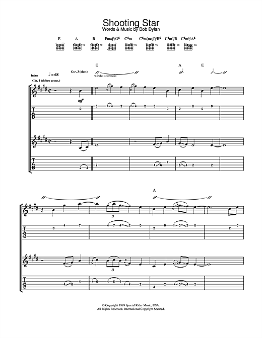 Tablature guitare Shooting Star de Bob Dylan - Tablature Guitare