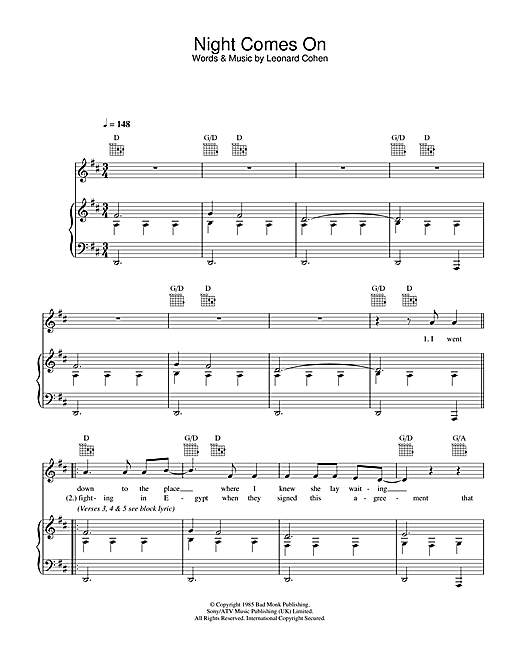 Night Comes On Sheet Music