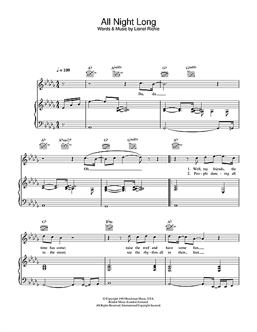 All Night Long (All Night) Sheet Music