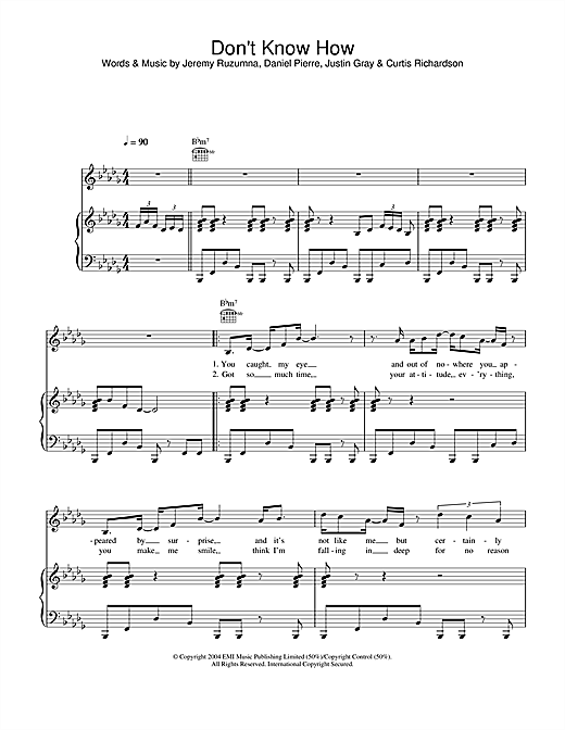 Don't Know How Sheet Music