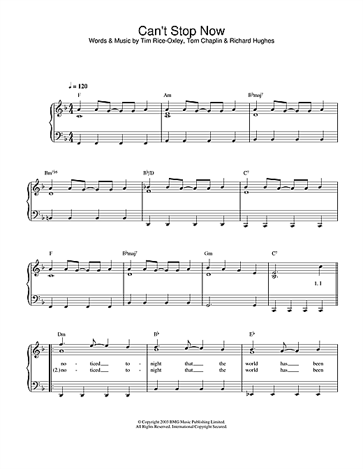 Can't Stop Now Sheet Music
