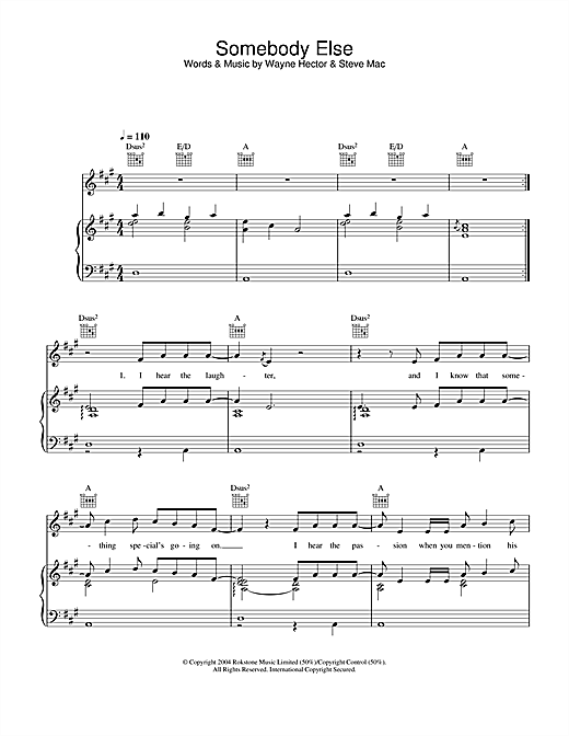 Somebody Else Sheet Music