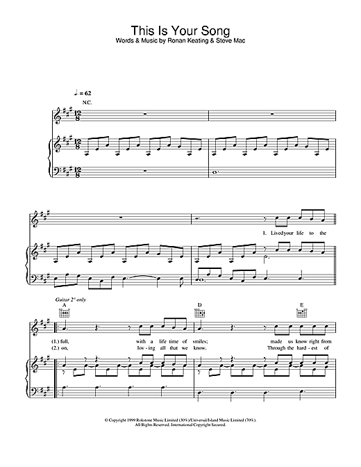 This Is Your Song Sheet Music