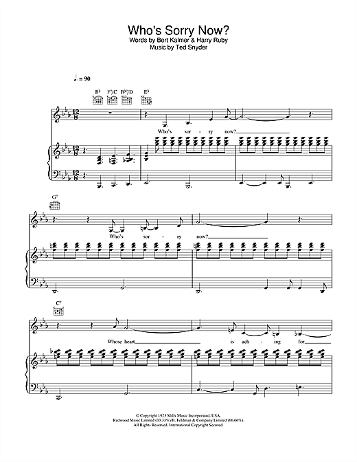 Guitar guitar chords sorry : Who's Sorry Now? sheet music by Connie Francis (Piano, Vocal ...