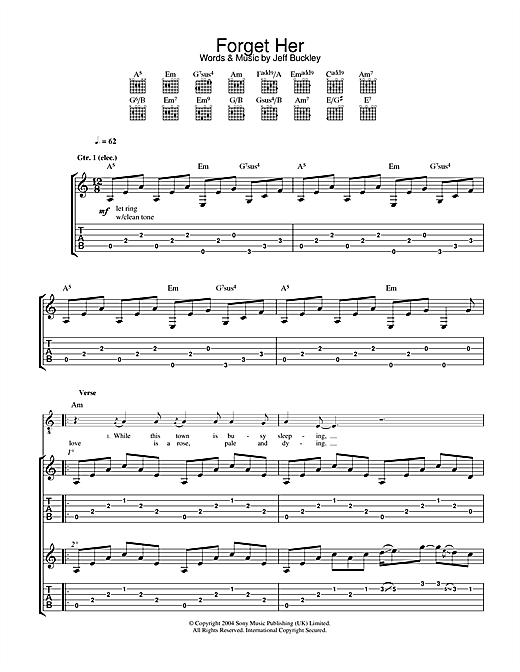 Tablature guitare Forget Her de Jeff Buckley - Tablature Guitare