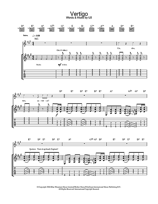 Tablature guitare Vertigo de U2 - Tablature Guitare