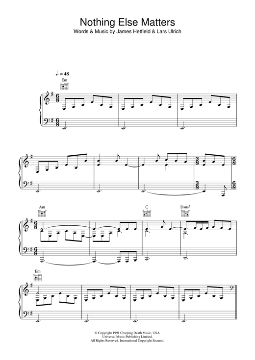 Piano piano tabs nothing else matters : Nothing Else Matters sheet music by Lucie Silvas (Piano, Vocal ...