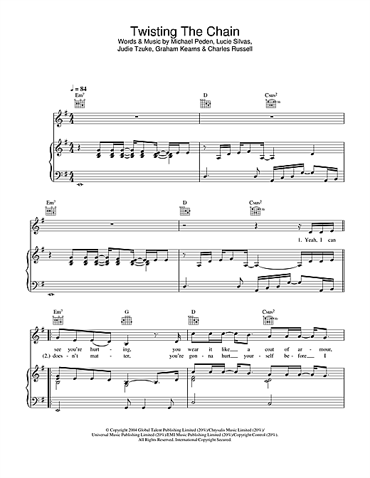 Twisting The Chain (Piano, Vocal & Guitar (Right-Hand Melody))