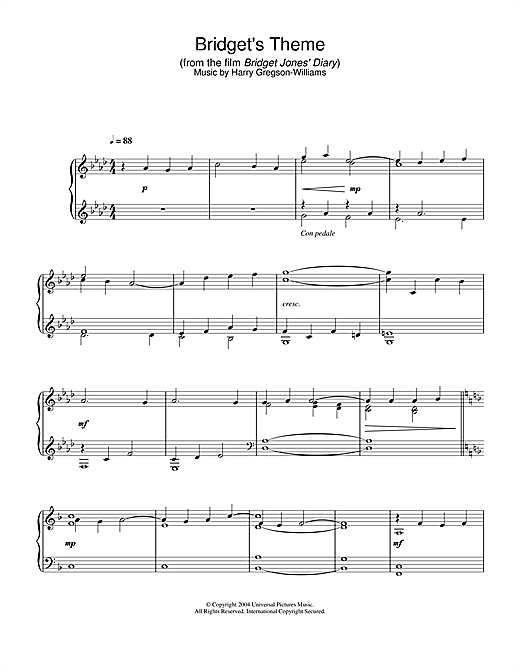 Bridget's Theme (from Bridget Jones's Diary) Sheet Music