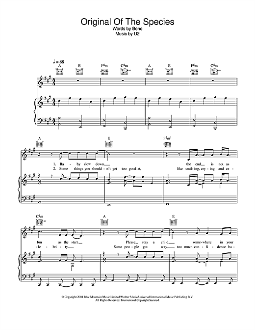 Original Of The Species Sheet Music
