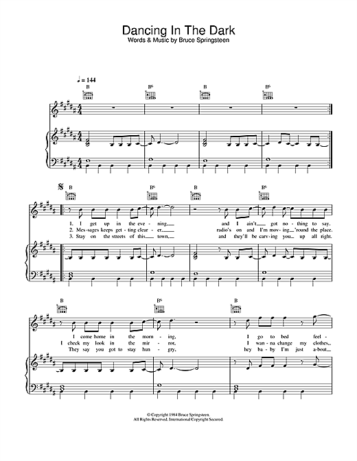 Dancing In The Dark (Piano, Vocal & Guitar (Right-Hand Melody))