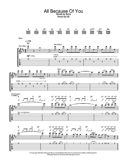 All Because Of You Sheet Music