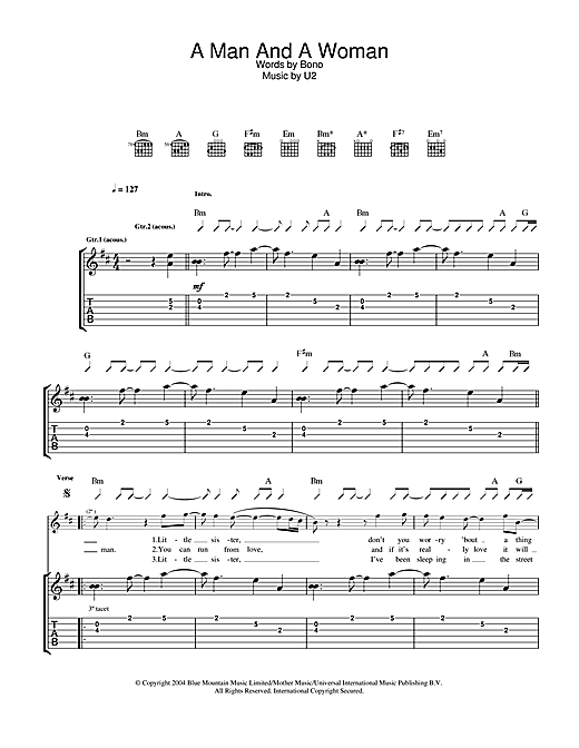 Tablature guitare A Man And A Woman de U2 - Tablature Guitare