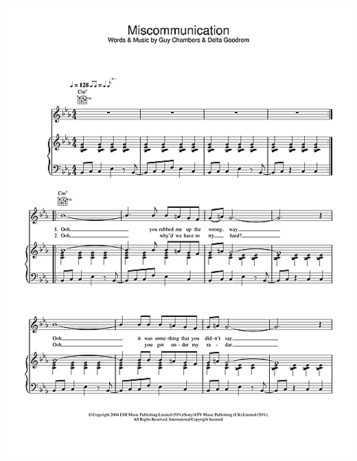 Miscommunication Sheet Music