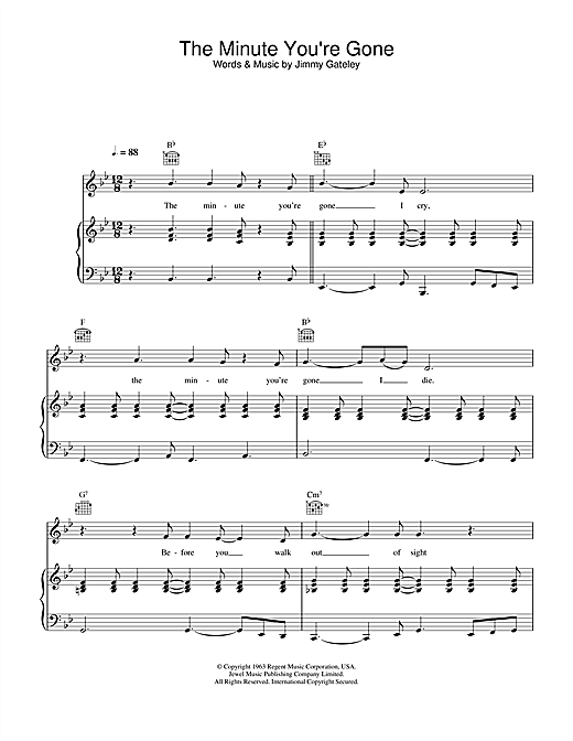 The Minute You're Gone Sheet Music