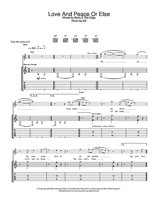Love And Peace Or Else Sheet Music