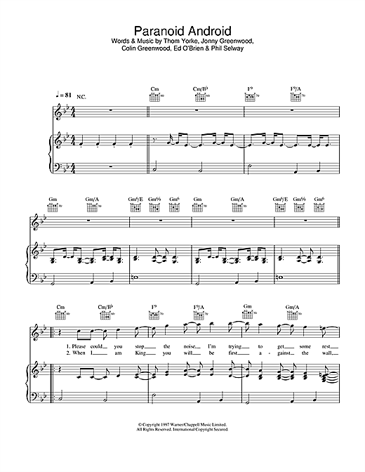 Radiohead Paranoid Android Acoustic Chords For