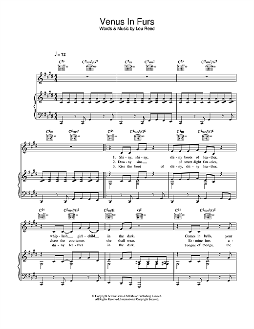 Venus In Furs Sheet Music