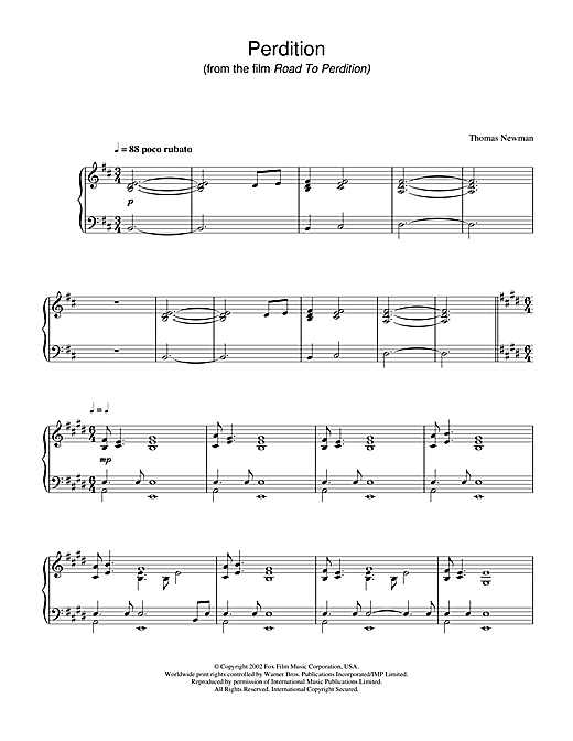 Perdition (from Road To Perdition) Sheet Music