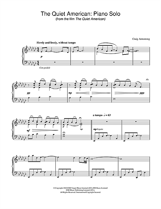 The Quiet American - Piano Solo (from The Quiet American) Sheet Music