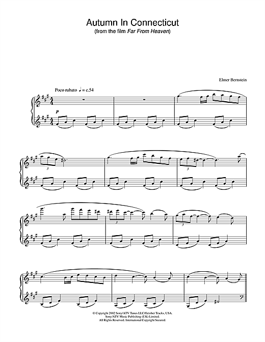 Autumn In Connecticut (from Far From Heaven) Sheet Music