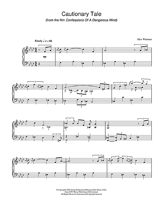 Partition piano Cautionary Tale (from Confessions Of A Dangerous Mind) de Alex Wurman - Piano Solo