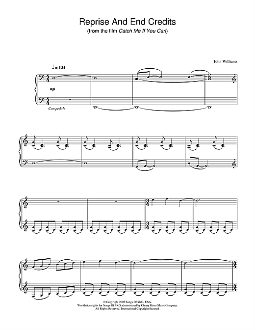 Reprise And End Credits (from Catch Me If You Can) Sheet Music