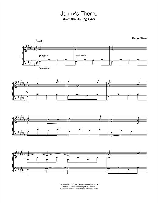 Jenny's Theme (from Big Fish) Sheet Music