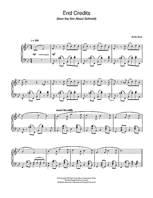 End Credits from About Schmidt Sheet Music