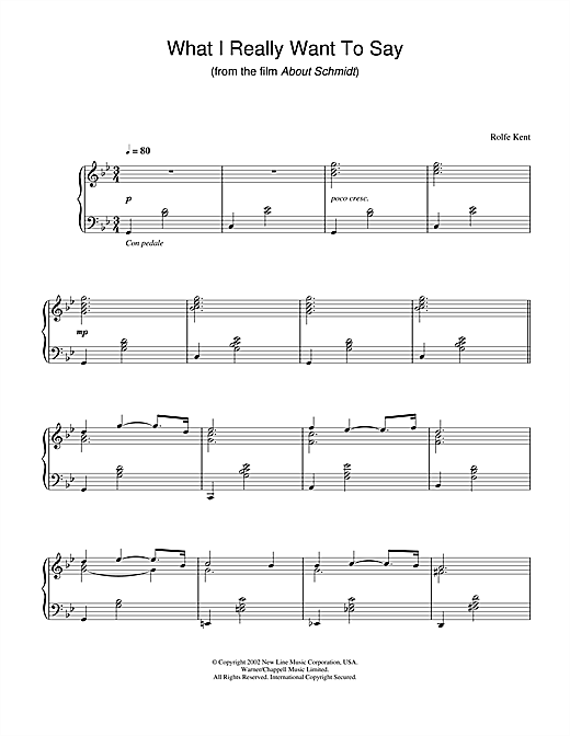 What I Really Want To Say (from About Schmidt) Sheet Music