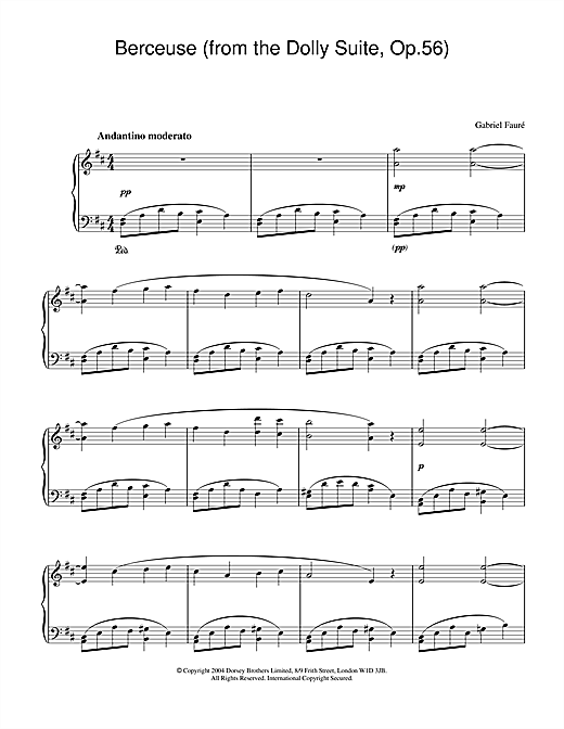 Berceuse (from the Dolly Suite, Op.56) Sheet Music