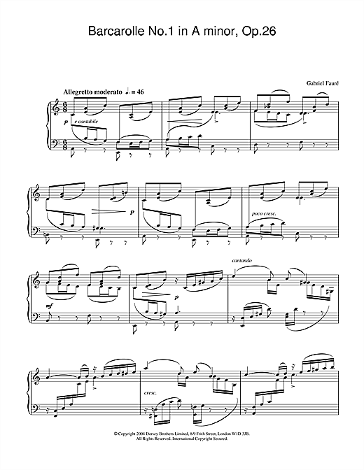 Barcarolle No.1 in A minor, Op.26 Sheet Music