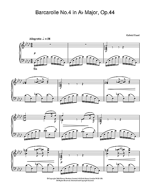 Barcarolle No.4 in A Flat Major, Op.44 Sheet Music