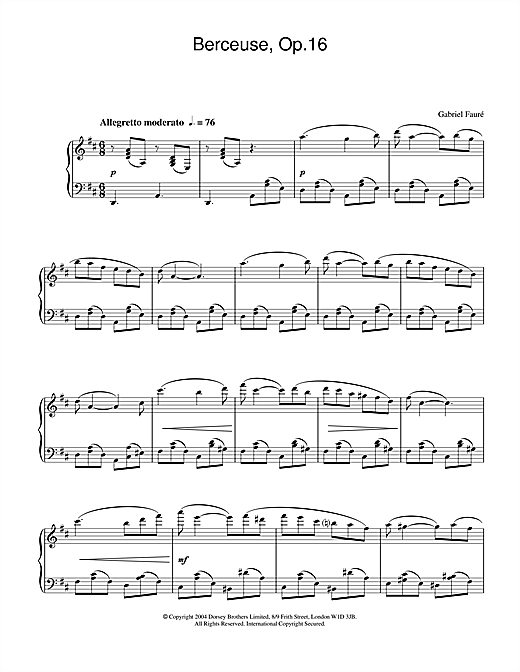 Berceuse, Op.16 Sheet Music