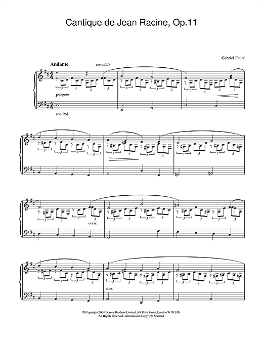 Cantique de Jean Racine, Op.11 Sheet Music