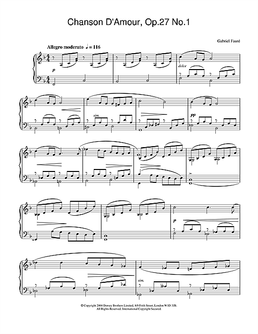 Chanson D'Amour, Op.27 No.1 Sheet Music