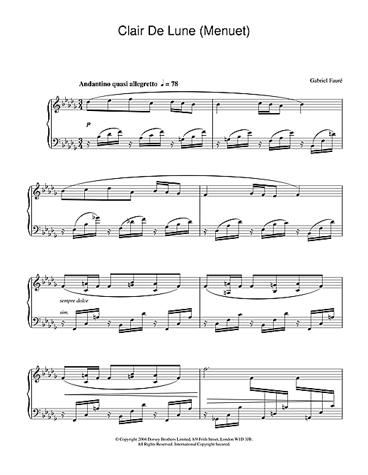 Clair De Lune (Menuet) Sheet Music