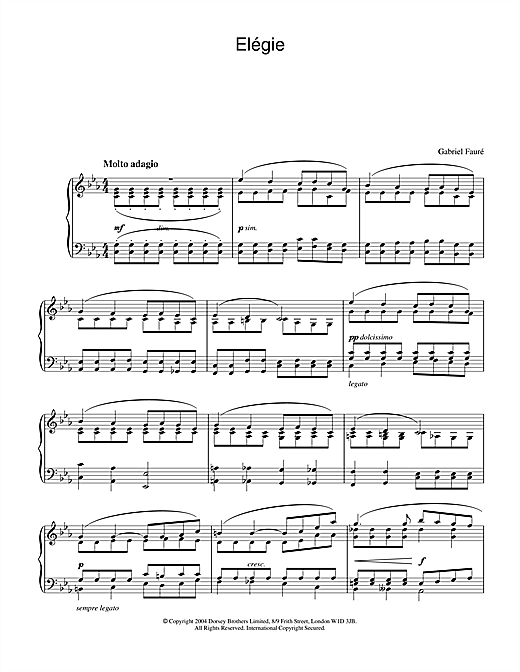 Elégie Sheet Music