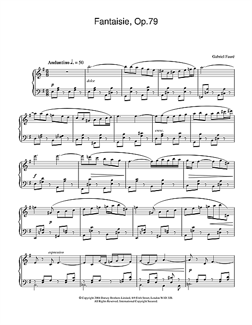 Partition piano Fantasie, Op.79 de Gabriel Faure - Piano Solo