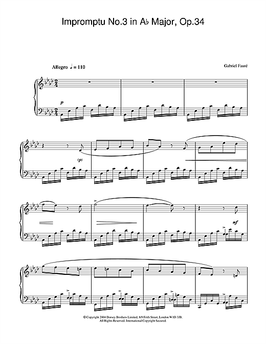 Partition piano Impromptu No.3 in Ab Major, Op.34 de Gabriel Faure - Piano Solo