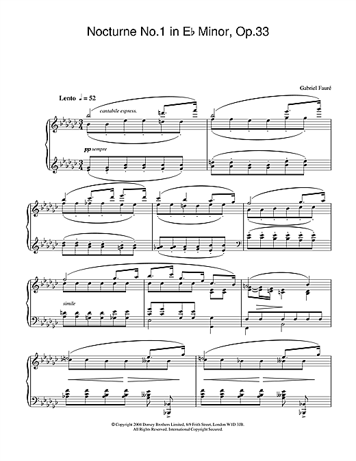Nocturne No.1 in E Flat Minor, Op.33 Sheet Music