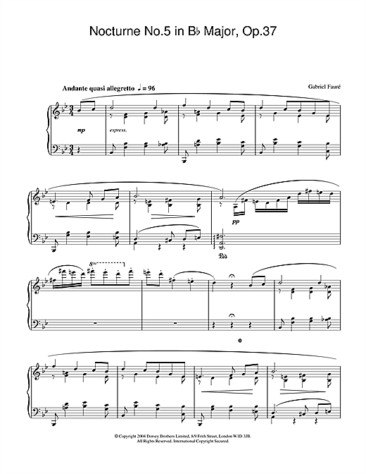 Nocturne No.5 in B Flat Major, Op.37 Sheet Music